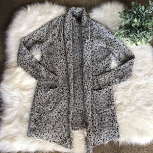 Ann Taylor Woven Gray Textured Cardigan Sweater